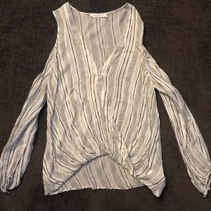 Lush Open Shoulder V-Neck Surplice Blouse XS